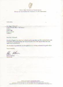 Letter from President Michael D Higgins