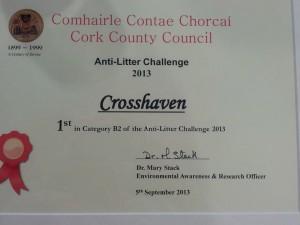 Crosshaven Tidy Towns litter challenge winners 2013